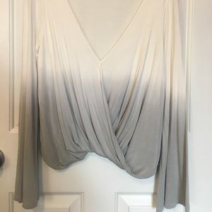 White and grey ombré wrap front shirt